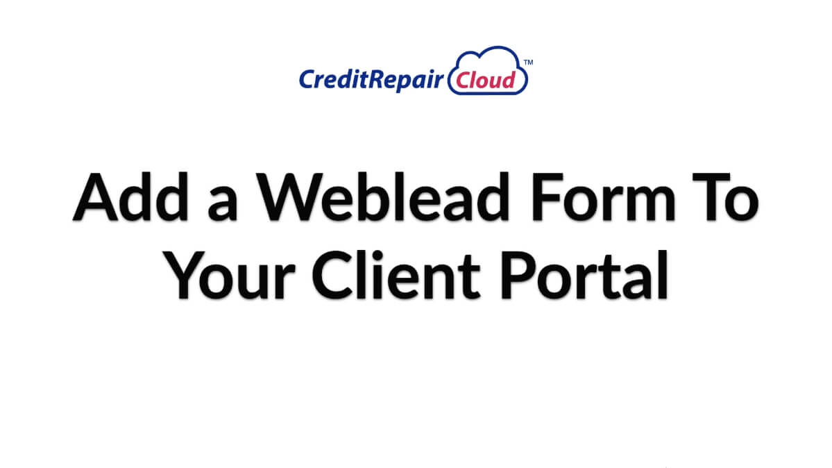 add a weblead form to your client portal