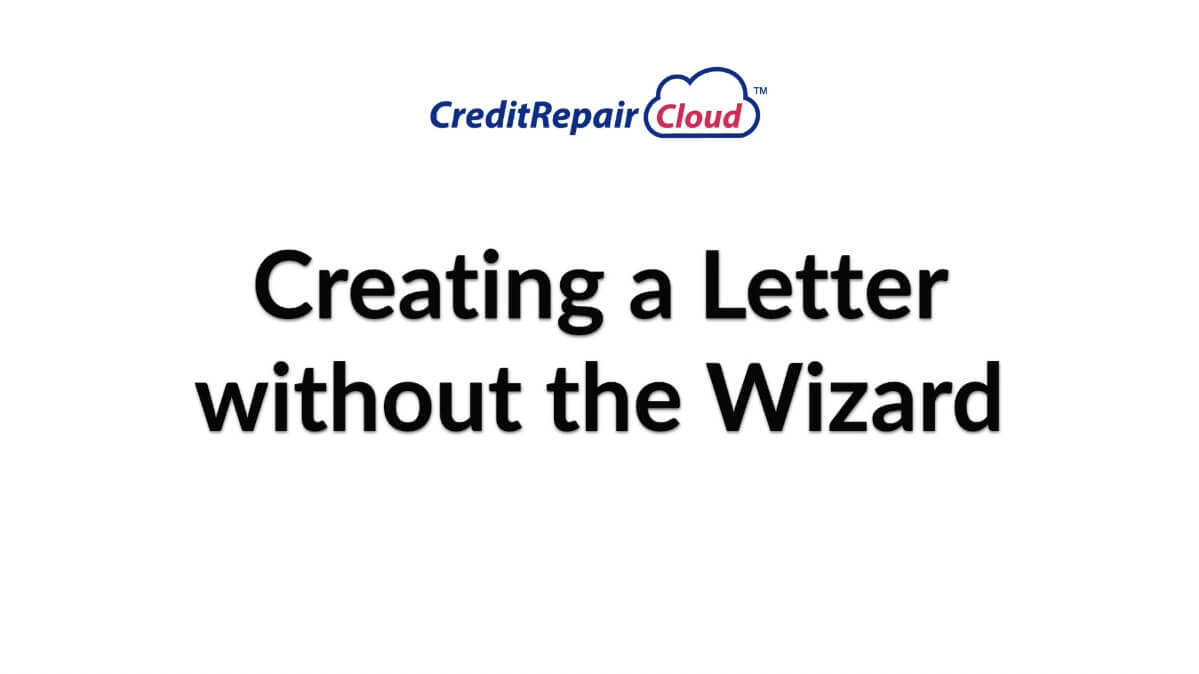 creating a letter without the wizard